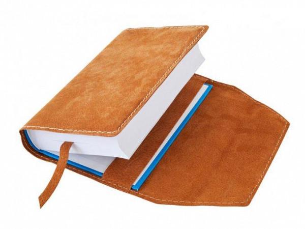 Obal na knihu kožený se záložkou Medový