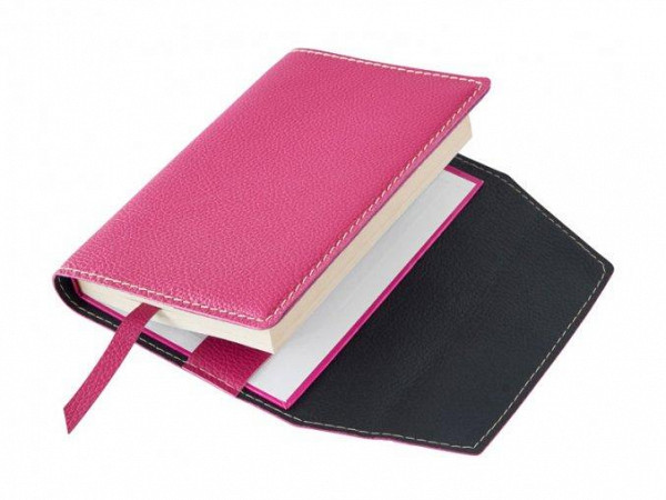 Obal na knihu kožený se záložkou Růžový