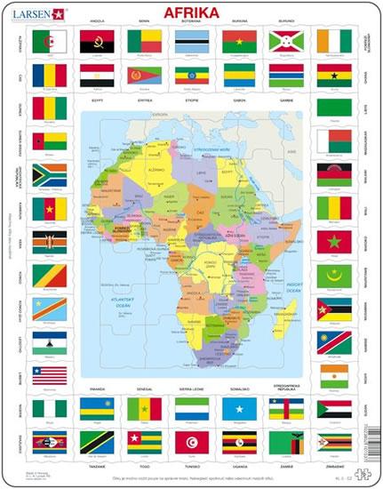 Puzzle MAXI - Mapa Afriky + vlajky/70 dílků
