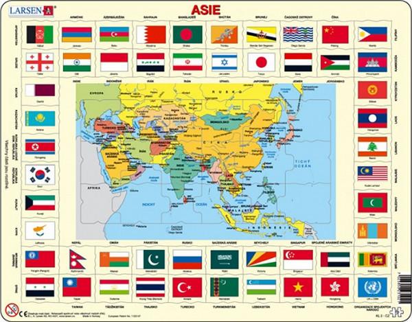 Puzzle MAXI - Mapa ASIE + vlajky/70 dílků