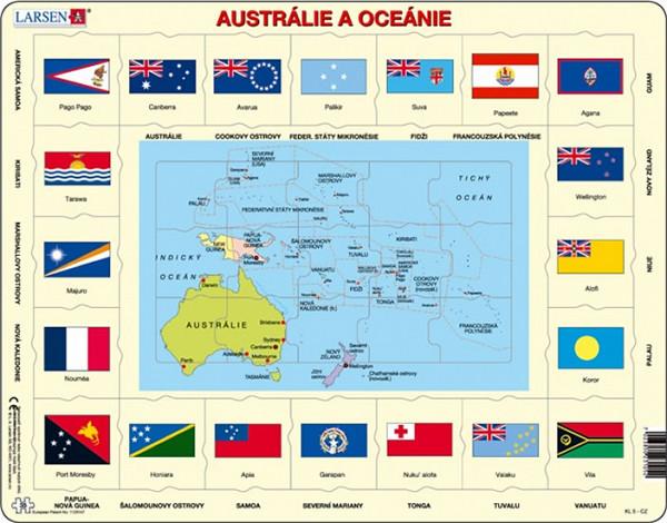 Puzzle MAXI - Mapa Austrálie a Oceánie + vlajky/35 dílků