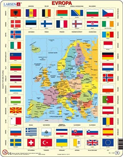 Puzzle MAXI - Mapa Evropy + vlajky/70 dílků
